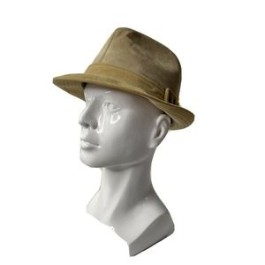 CHURCHILL Roots Feather Suede Leather Fedora 7 1/8